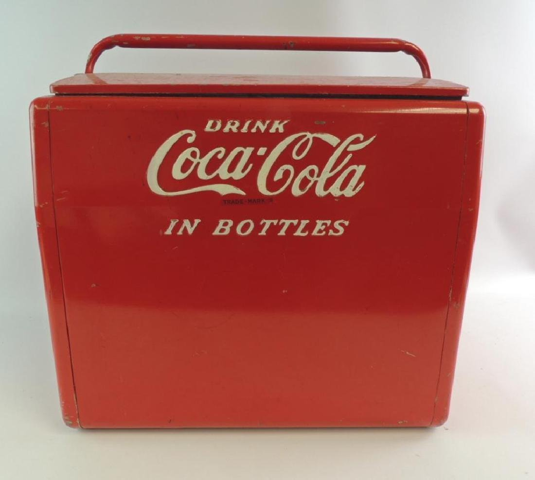 "Vintage Coca-Cola ""In Bottle"" Advertising Metal Cooler"