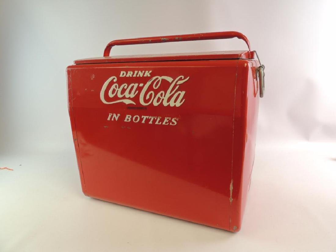 "Vintage Coca-Cola ""In Bottle"" Advertising Metal Cooler - 5"