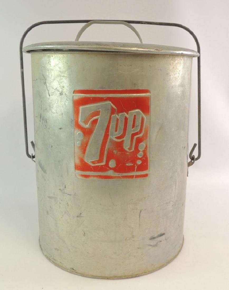 Vintage 7 Up Advertising Metal Cooler with Tray