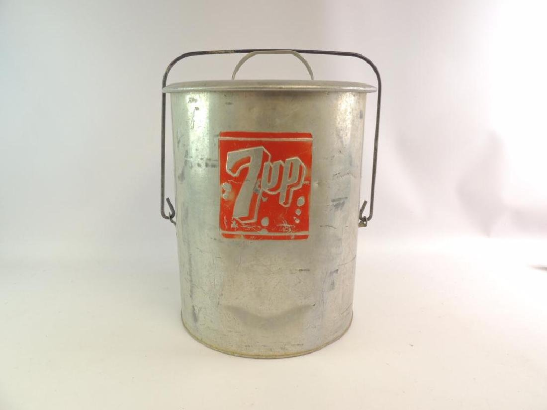 Vintage 7 Up Advertising Metal Cooler with Tray - 2