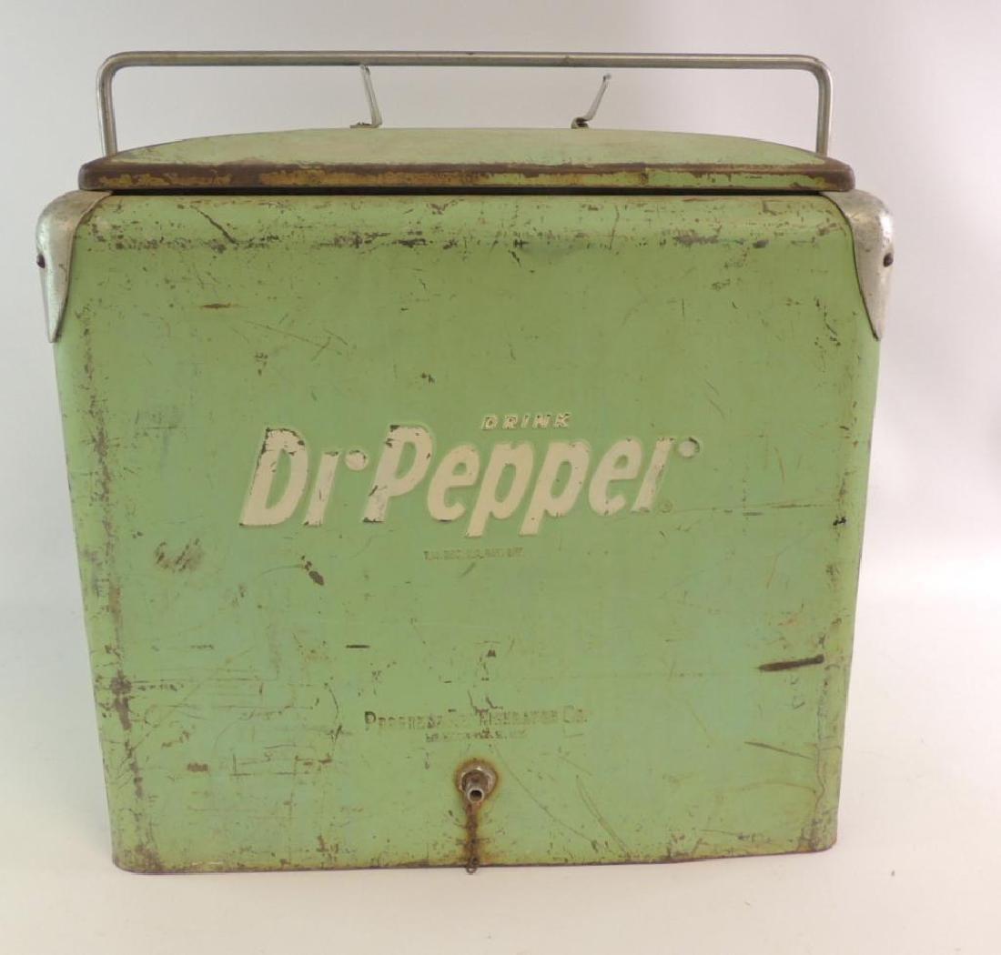 Vintage Dr. Pepper Advertising Metal Cooler