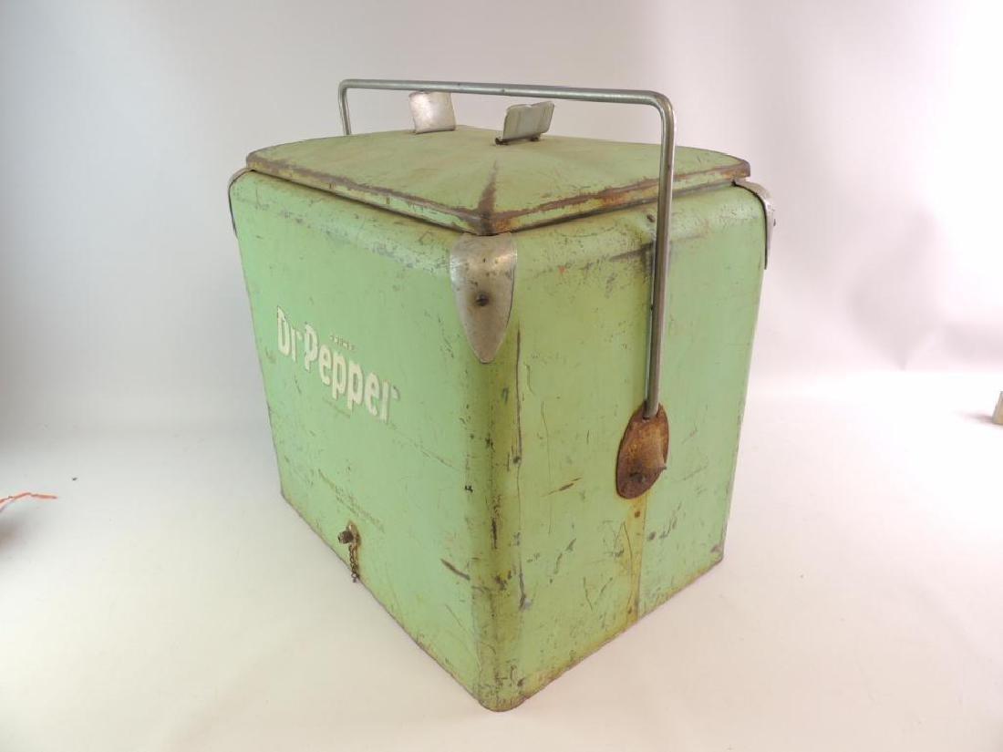Vintage Dr. Pepper Advertising Metal Cooler - 2