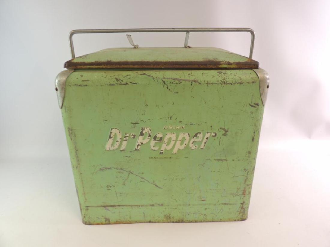 Vintage Dr. Pepper Advertising Metal Cooler - 3