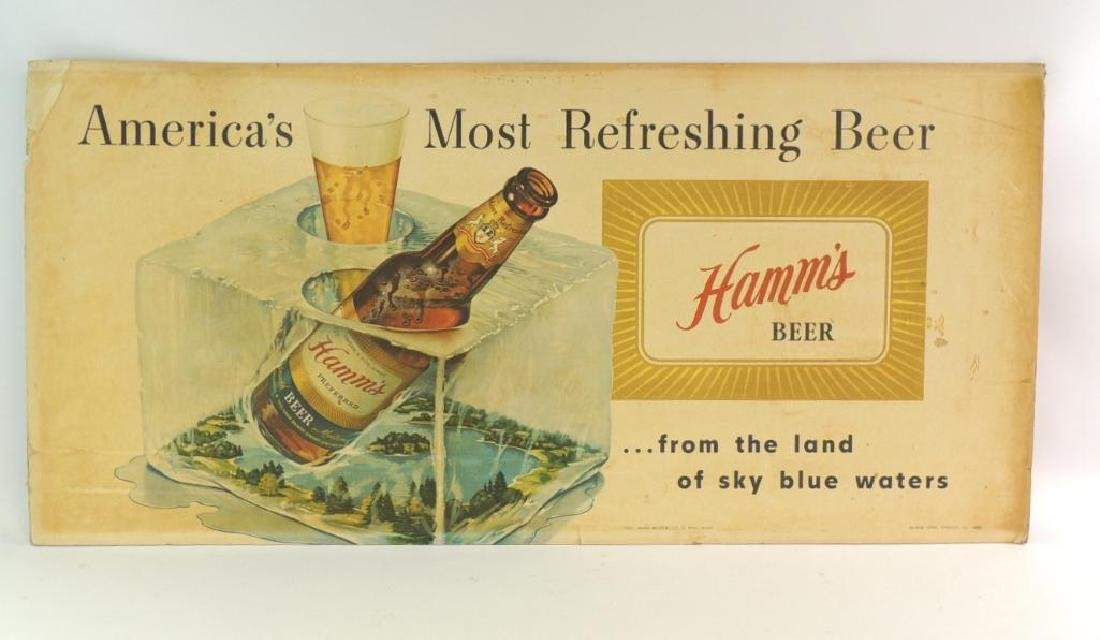 Vintage Hamm's Beer Advertising Cardboard Sign