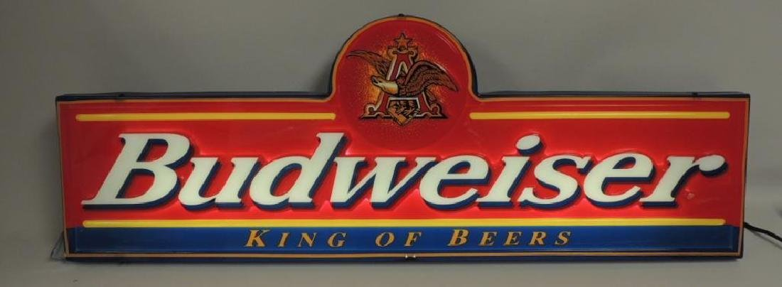 "Budweiser ""King of Beer"" Advertising Light Up Beer Sign - 3"