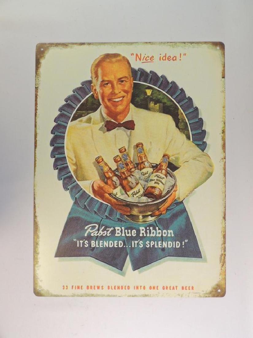 Pabst Blue Ribbon Modern Advertising Metal Beer Sign