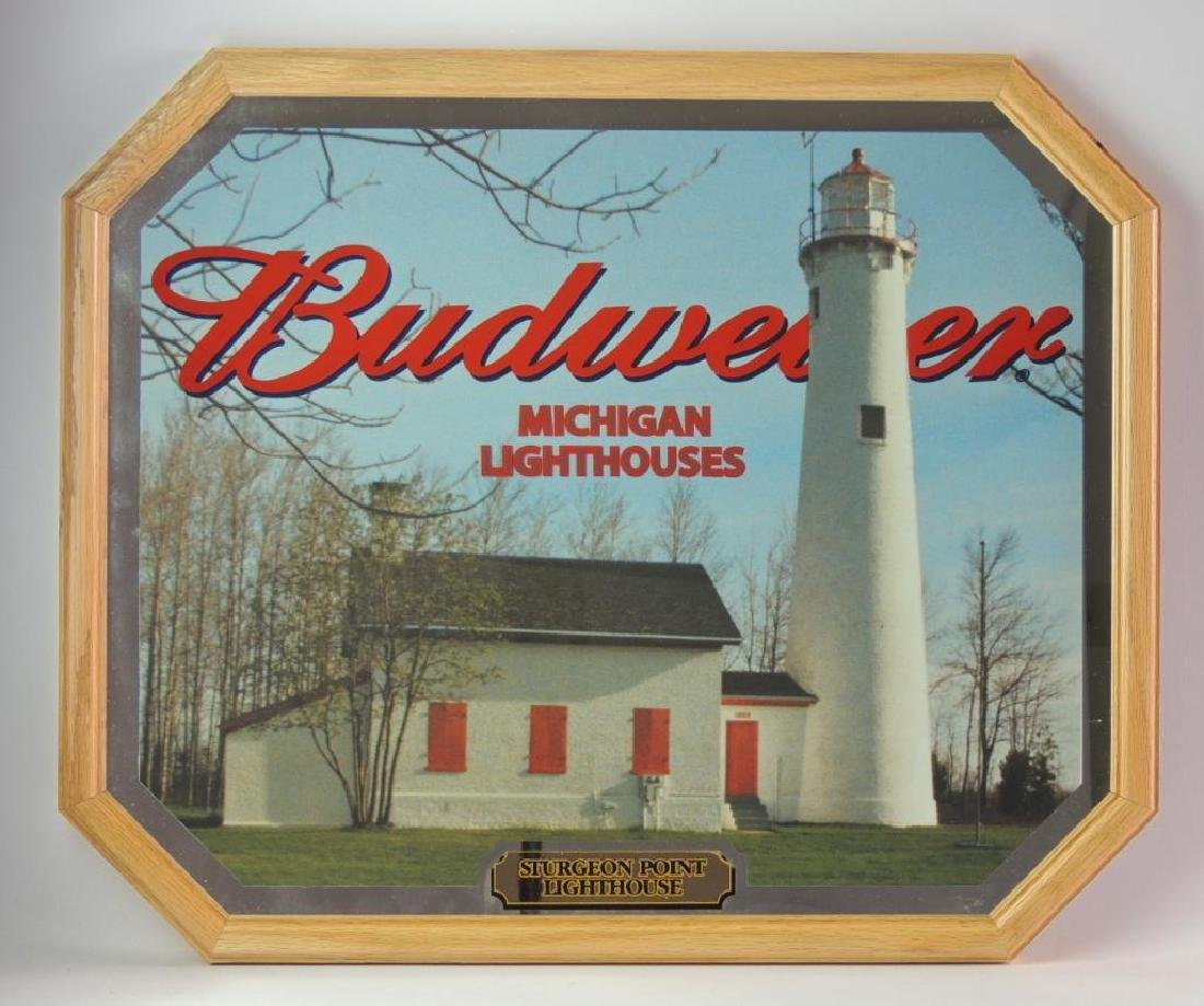 "Budweiser ""Michigan Lighthouses"" Advertising Mirror"