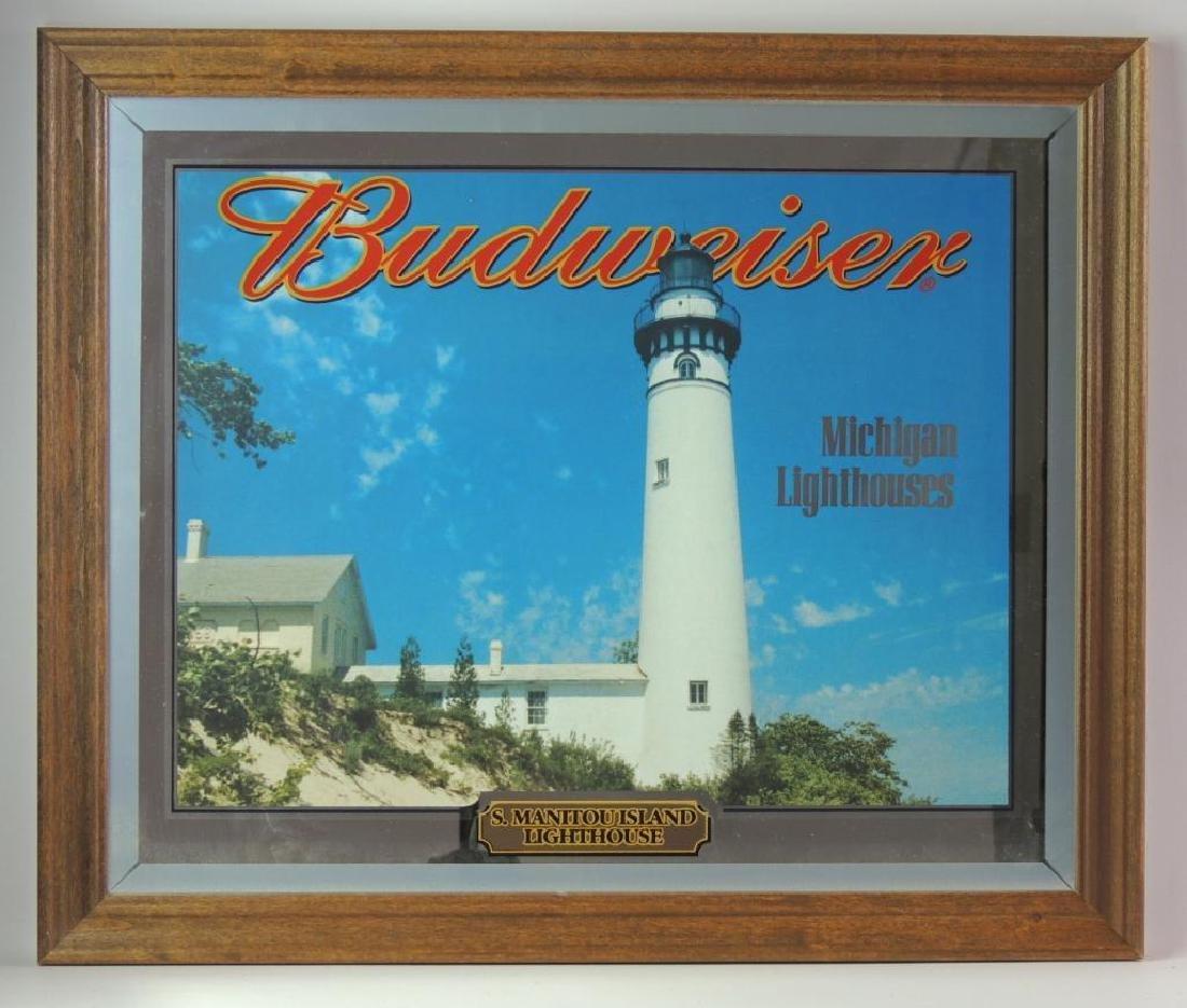 "Budweiser ""Michigan Lighthouses"" Advertising Mirror"