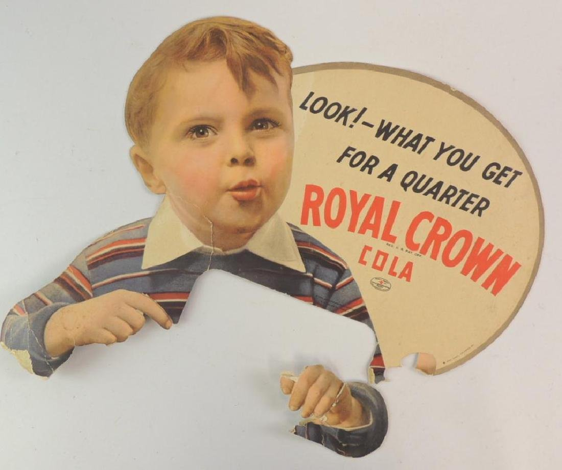 Antique Royal Crown Cola Advertising Cardboard Sign