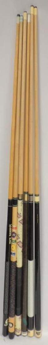 Group of 6 Advertising Pool Cue Sticks