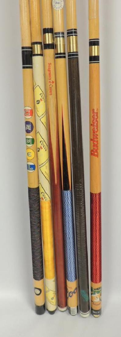 Group of 6 Advertising Pool Cue Sticks - 2