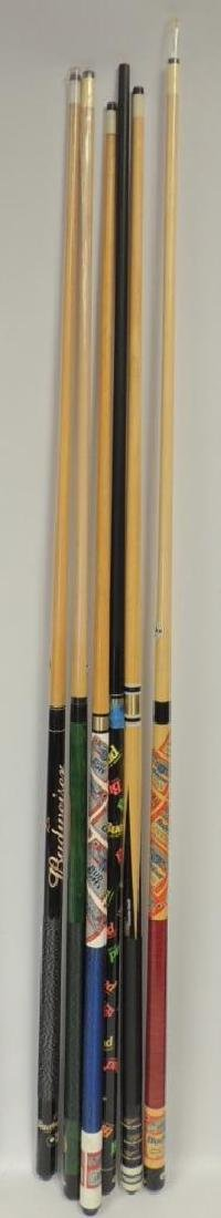 Group of 6 Budweiser Advertising Pool Cue's