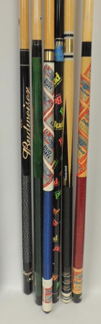 Group of 6 Budweiser Advertising Pool Cue's - 2