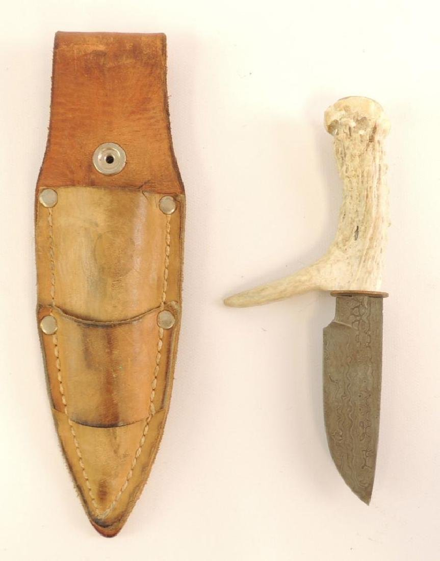 Stag Handle Knife with Leather Sheath