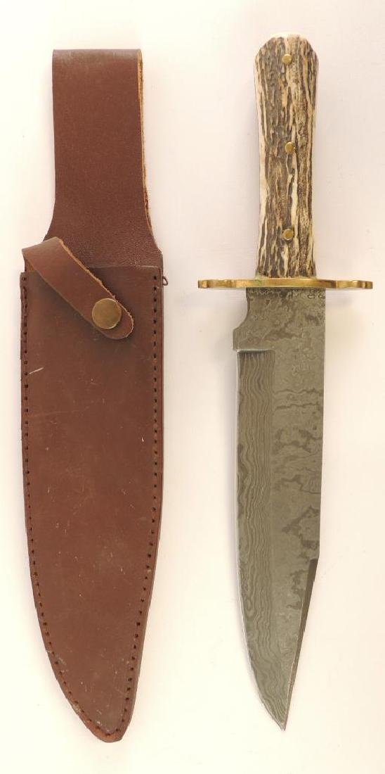 Whitetail Cutlery Stag Handle Bowie Knife with Leather