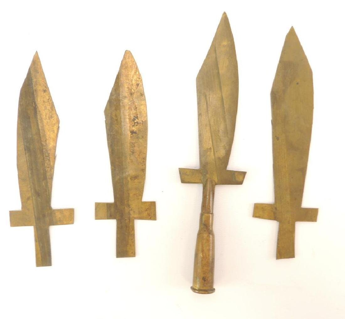 Group of 4 WW2 Era Trench Art Letter Openers