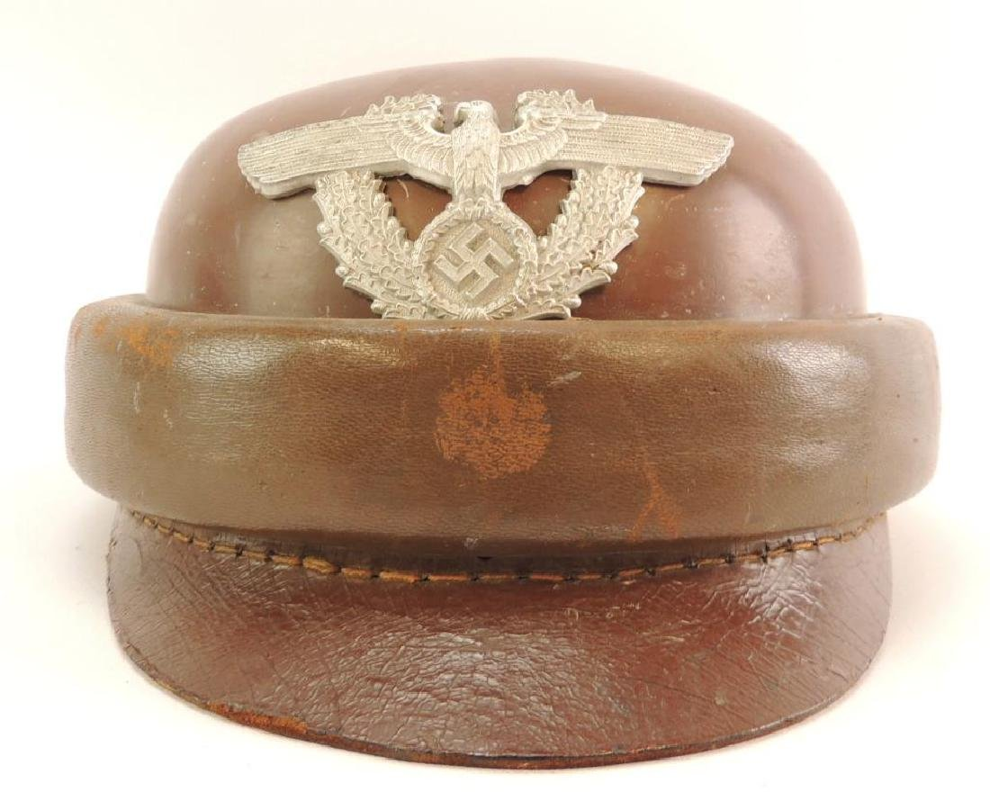 WW2 German Police Leather Motorcycle Helmet