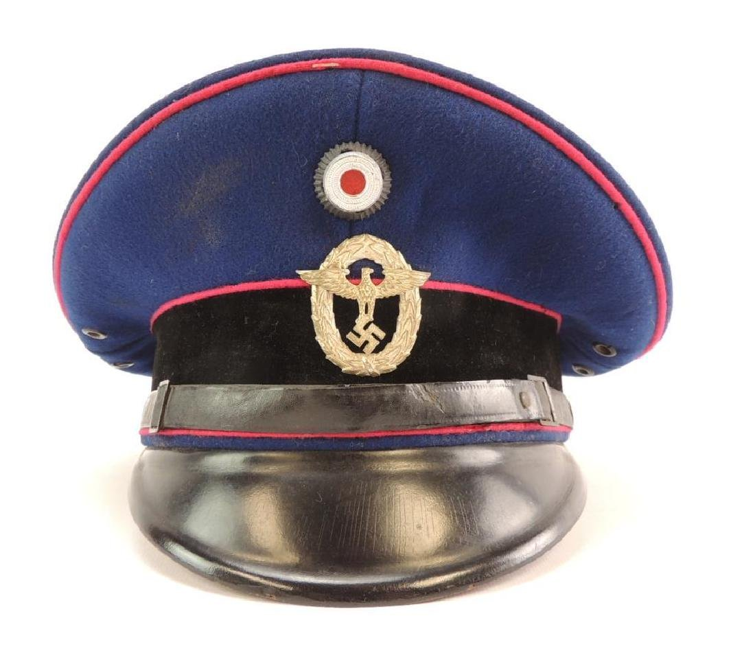 WW2 German Fire Police Hat with Badges