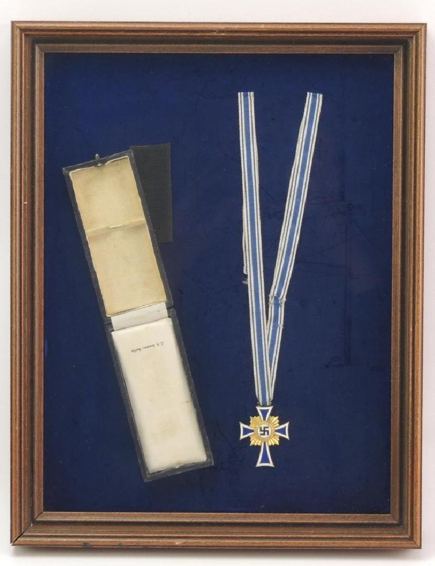 WW2 German Framed Mother's Cross in Gold with Original