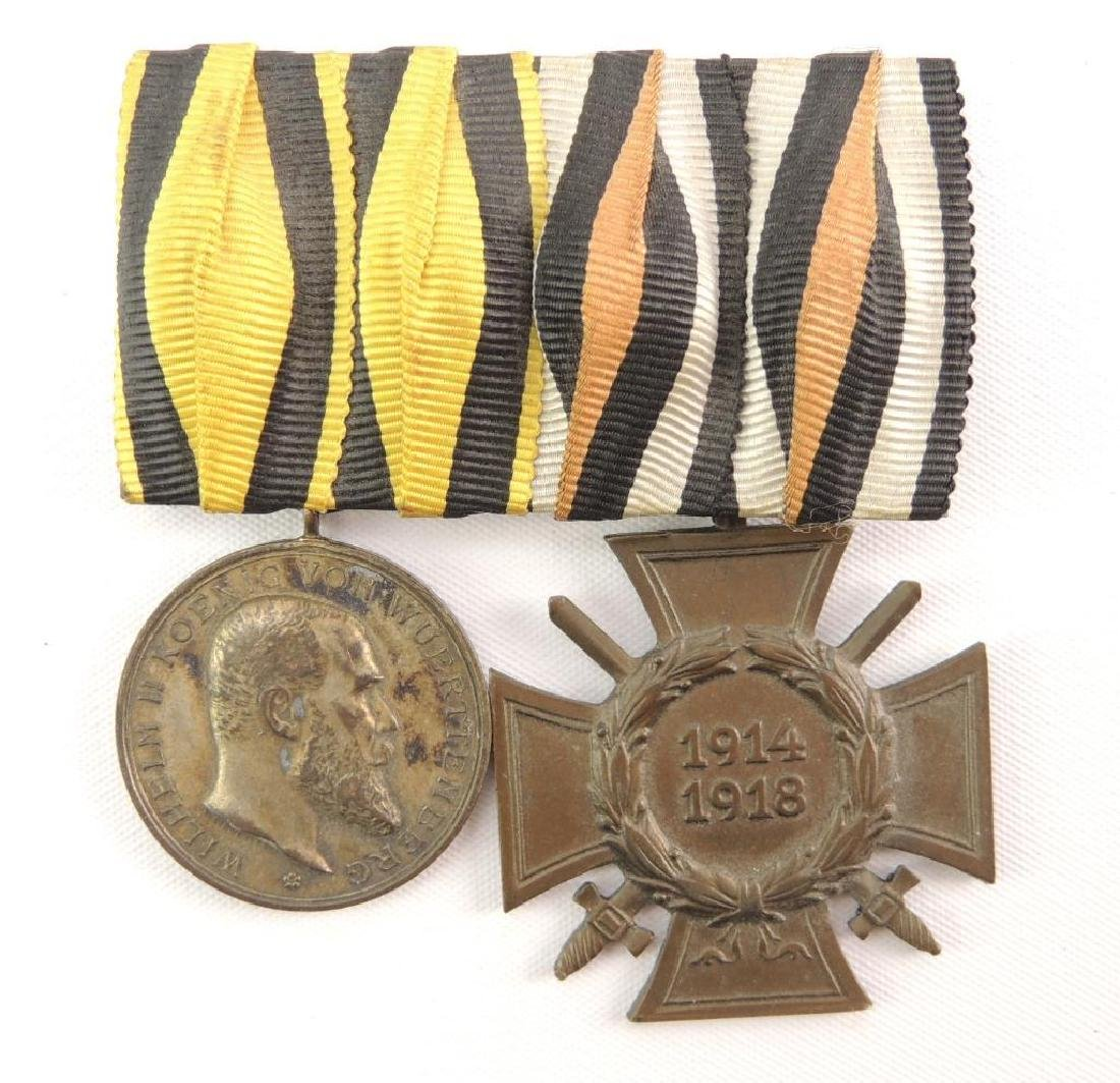 WW1 German Hindenburg and Wurtemberg Medal Bar