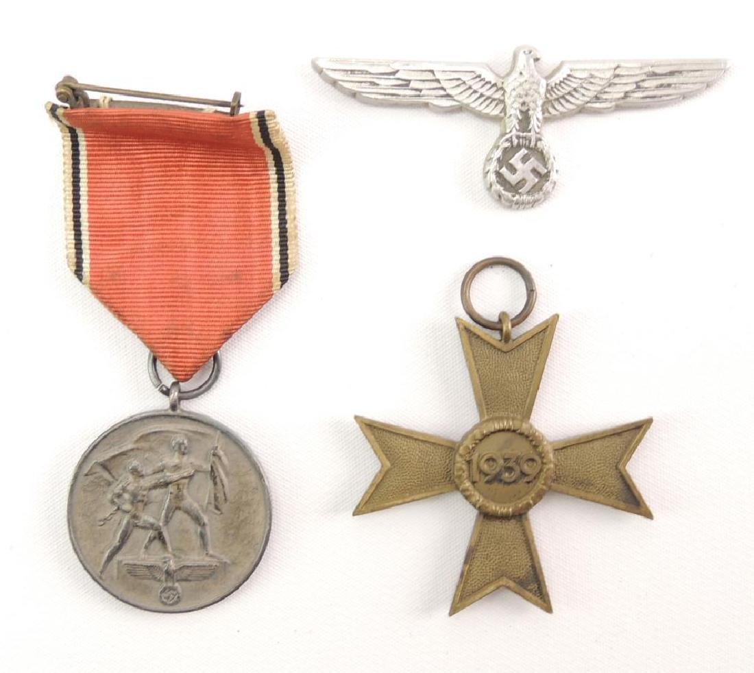 WW2 German War Merit Cross, Austrian Medal, and Hat