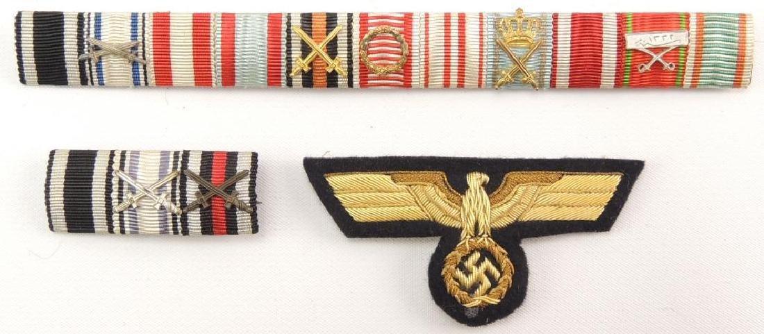 WW2 German Naval Officers Bullion Eagle and 2 Ribbon