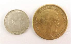 Group of 2 WW2 German Third Reich Coins Silver 2 Mark