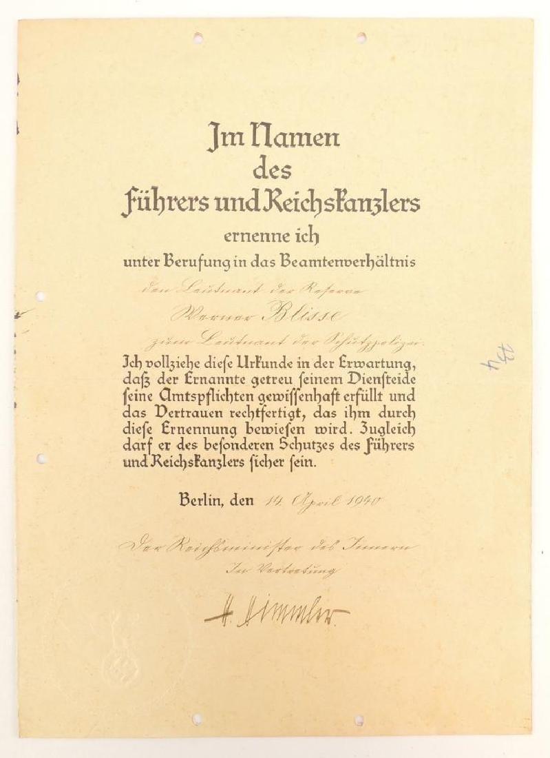 Heinrich Himmler WW2 German Signed Identified Promotion