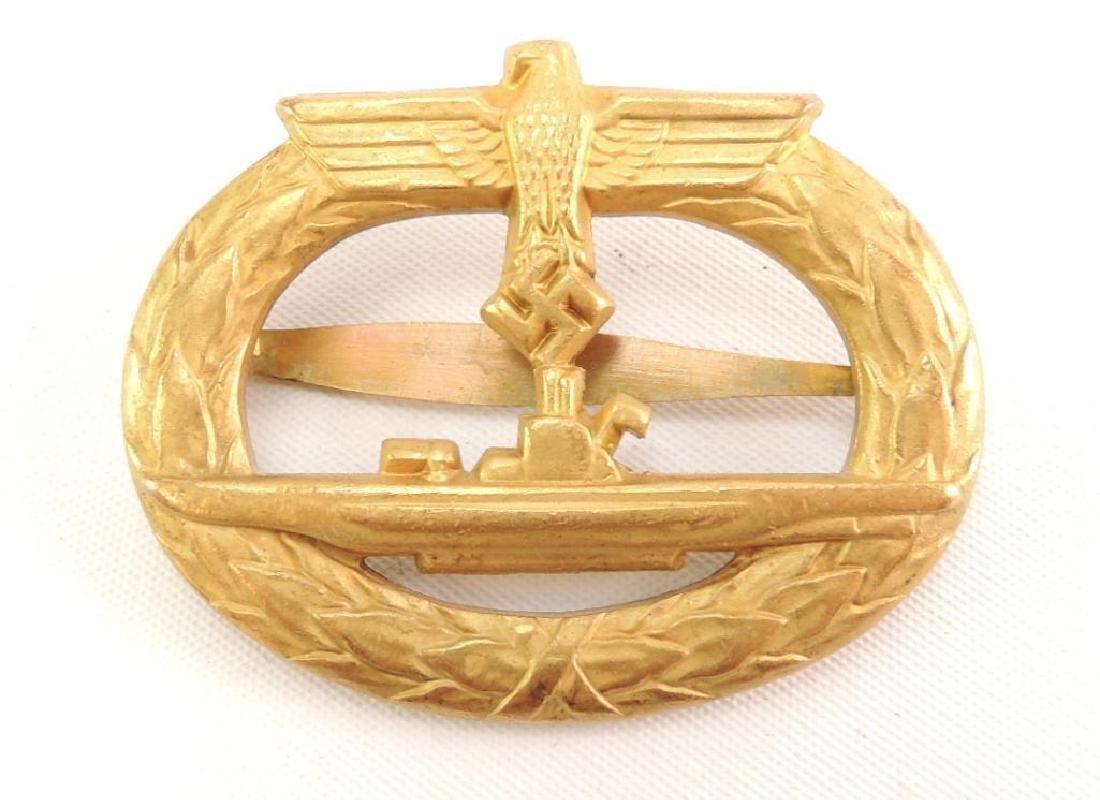 WW2 German Submarine Badge in Gold