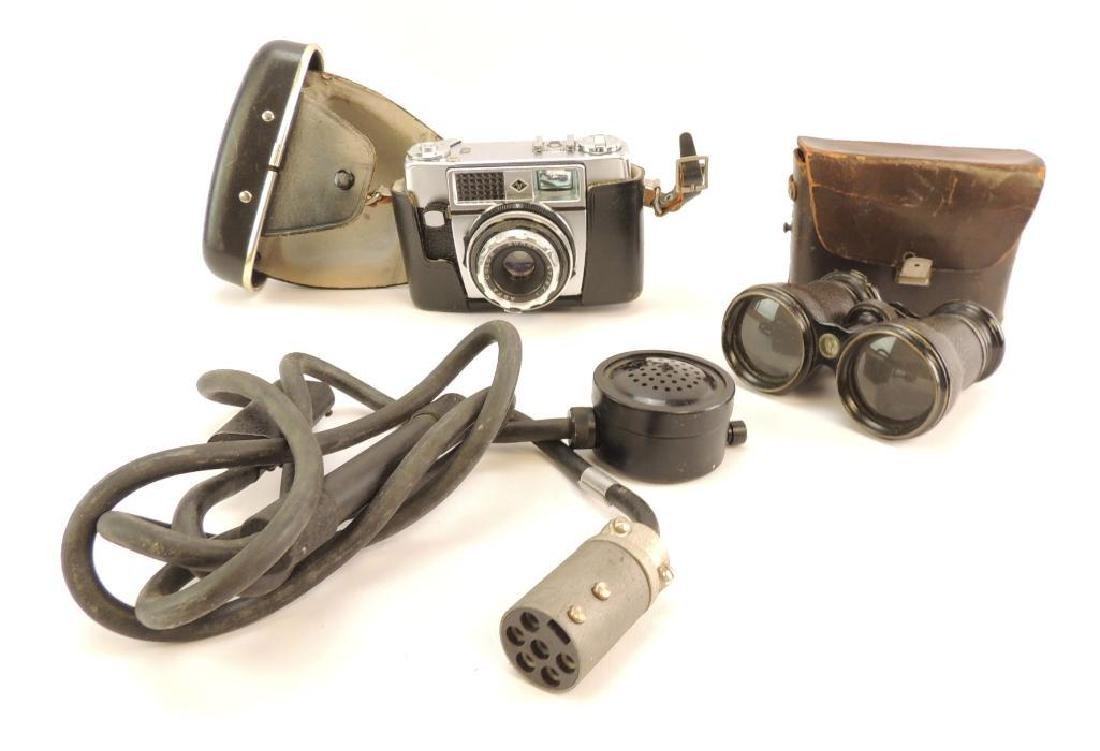 Group of WW2 Era Camera, Binoculars, and Microphone