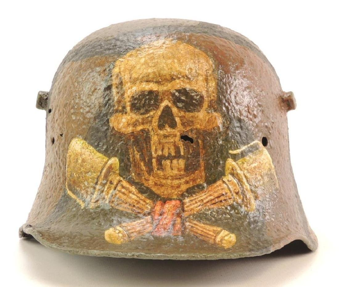 WW2 German Battle Dug Helmet with Modern Skull and