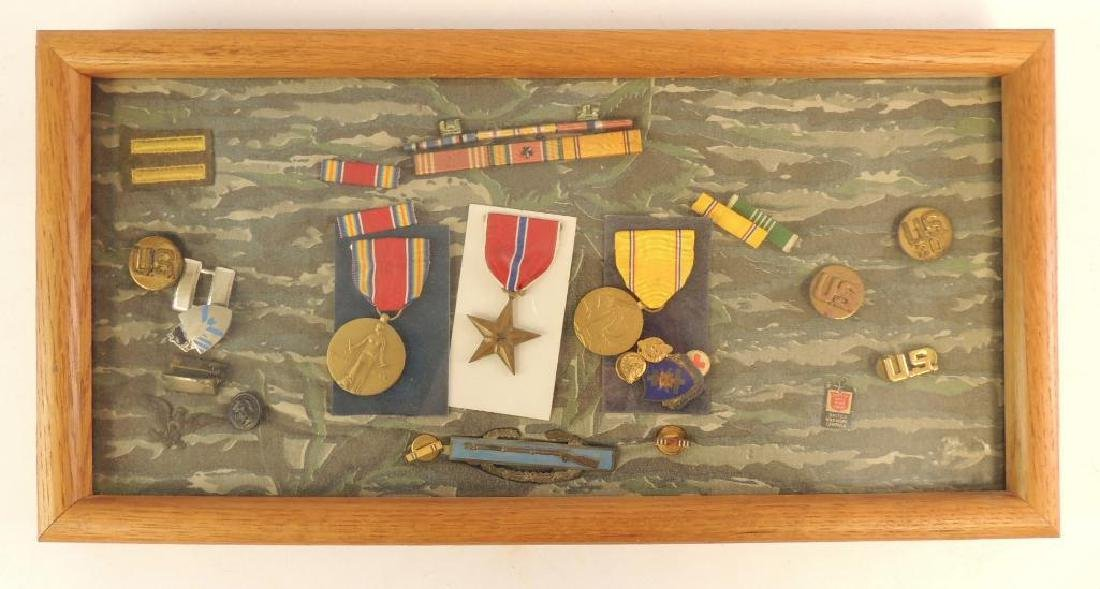 Shadow Box with U.S. Military Medals and Bars