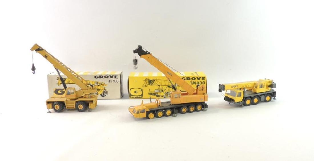 Group of 3 NZG Grove Die-Cast Replica Cranes