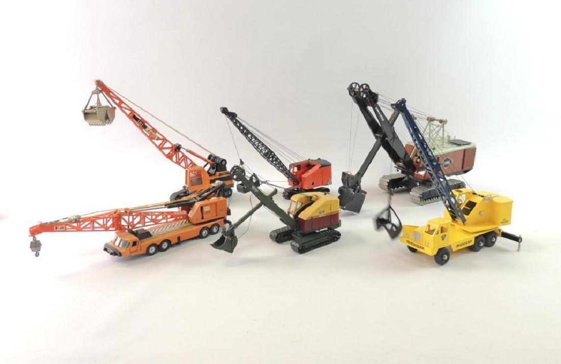 Group of 3 Die-Cast Toy Cranes