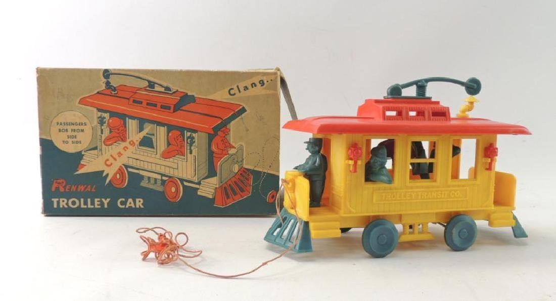 Vintage Renwal Plastic Pull Toy Trolley Car with
