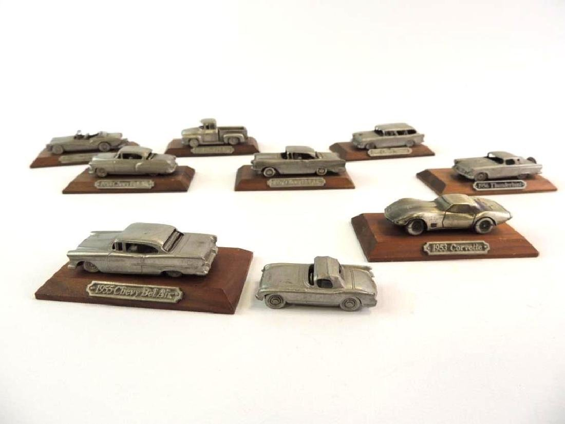 Group Of 9 Miniature Pewter Cars