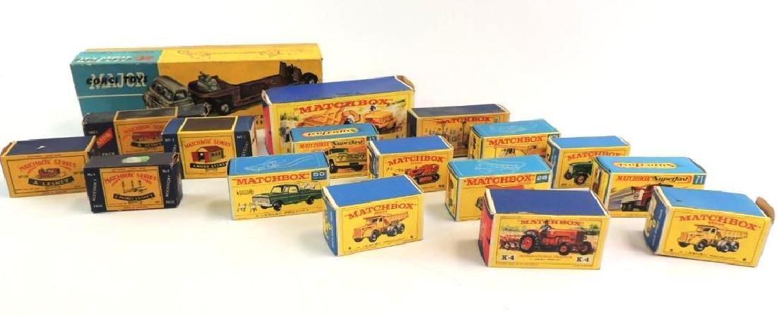 Group Of 17 Vintage Lesney Matchbox And Corgi Boxes