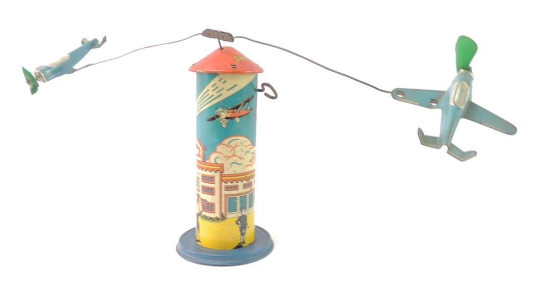 Vintage Marx Sky Hawk Airport Tower Windup Tin Toy