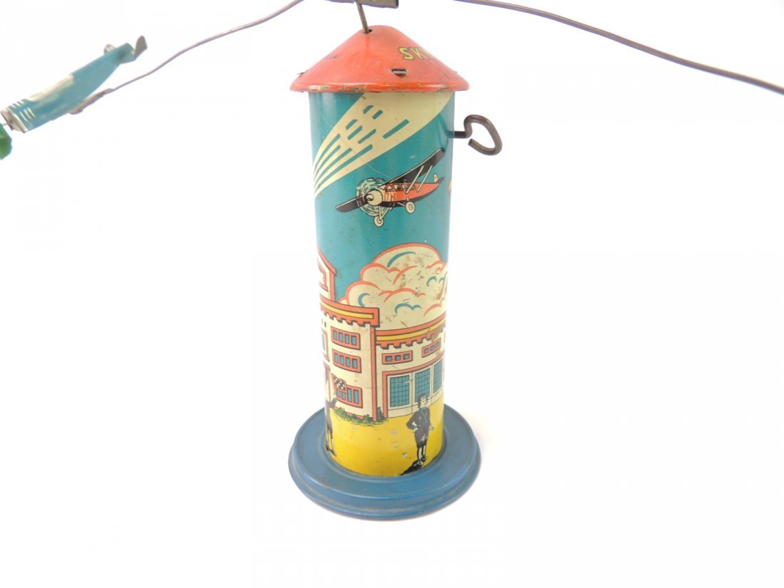 Vintage Marx Sky Hawk Airport Tower Windup Tin Toy - 2