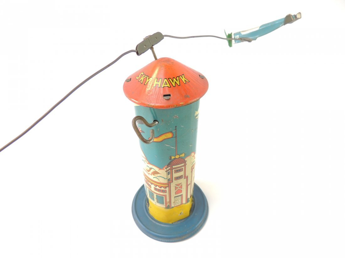 Vintage Marx Sky Hawk Airport Tower Windup Tin Toy - 3