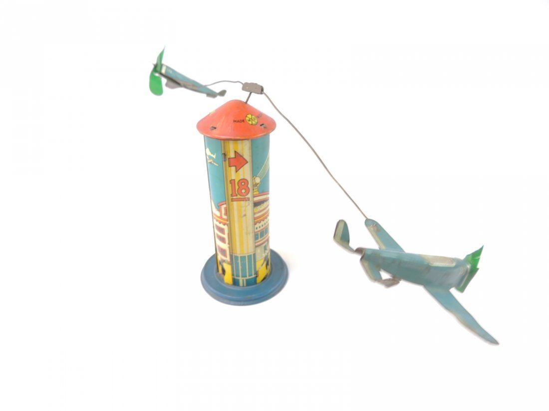 Vintage Marx Sky Hawk Airport Tower Windup Tin Toy - 4