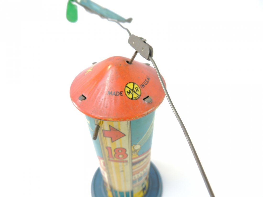 Vintage Marx Sky Hawk Airport Tower Windup Tin Toy - 5