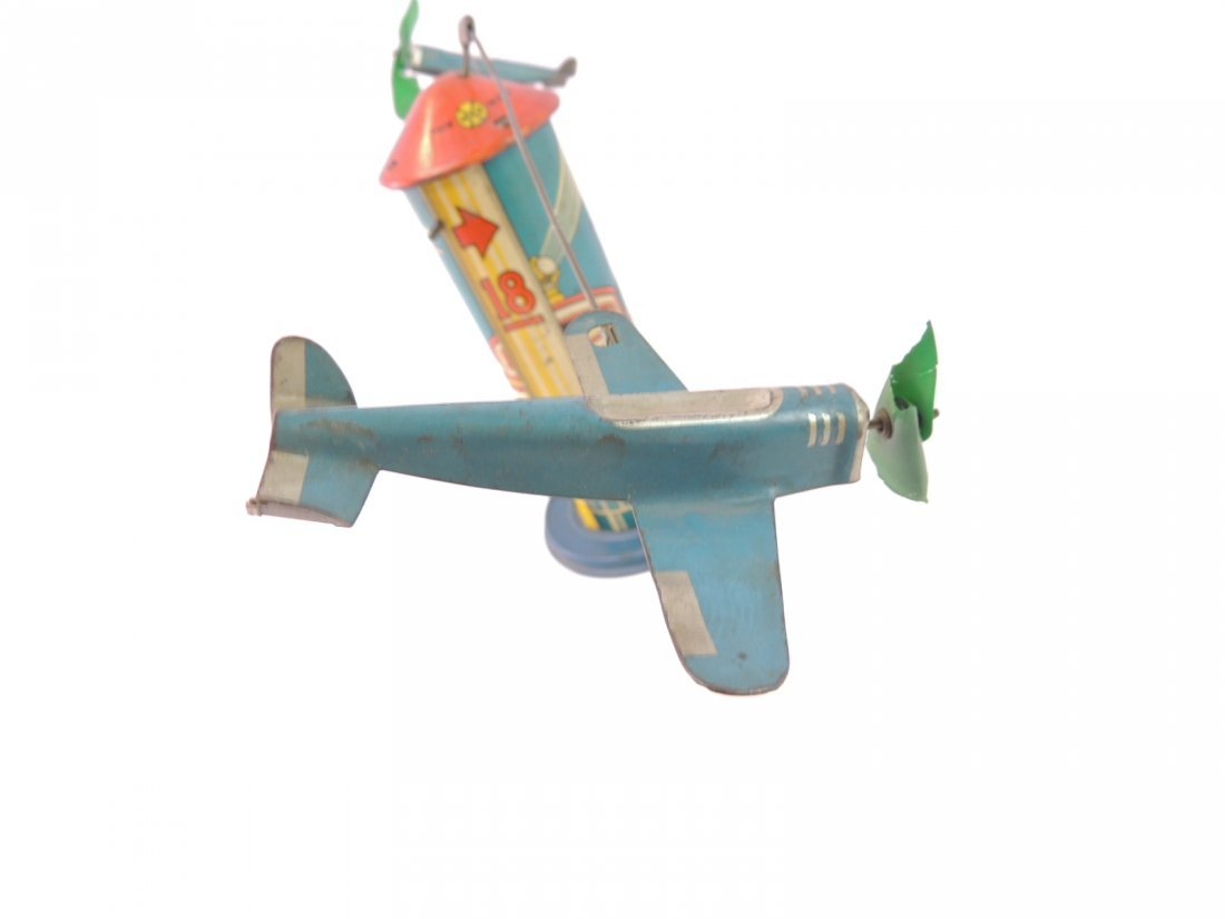 Vintage Marx Sky Hawk Airport Tower Windup Tin Toy - 7