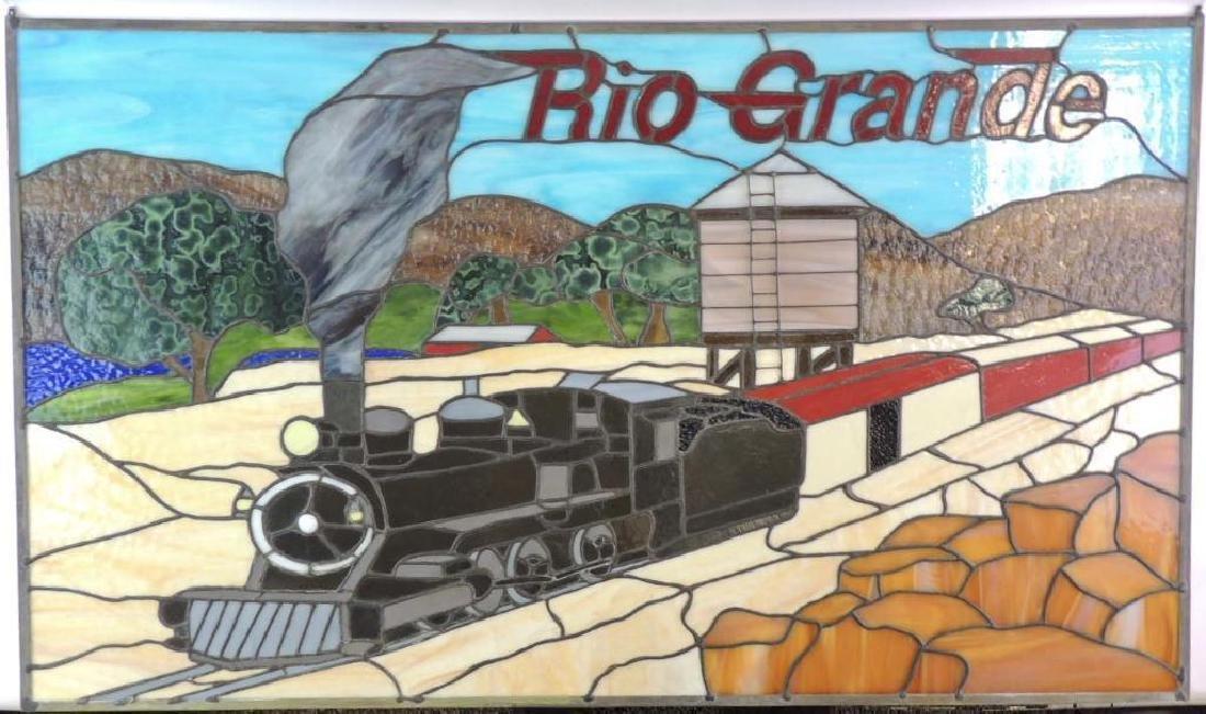 Rio Grande Steam Locomotive Stain Glass Window
