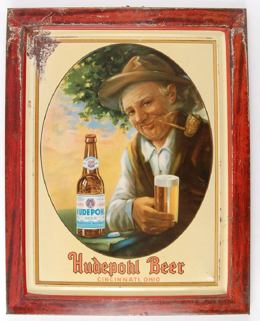 Vintage Hudepohl Beer Advertising Metal Sign