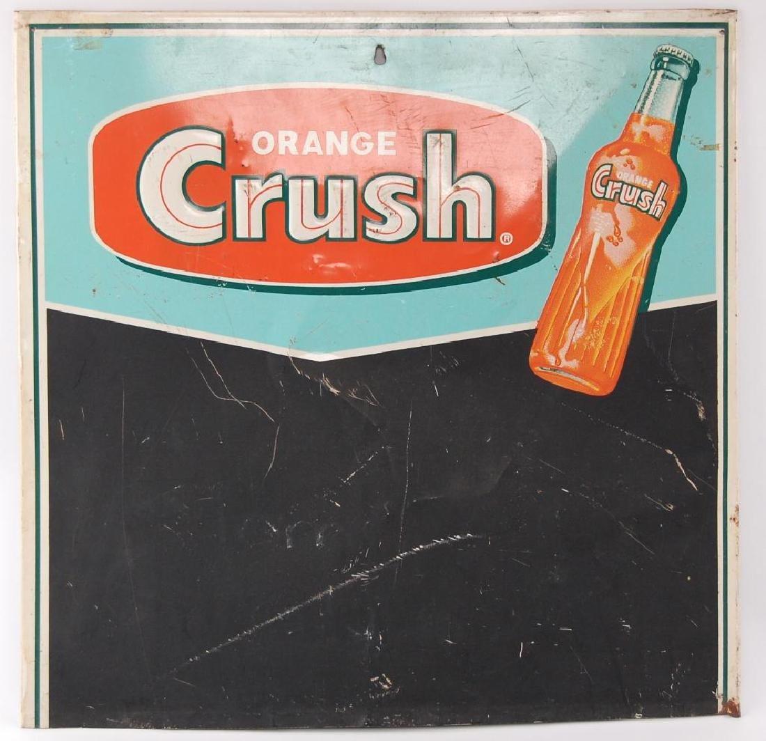 Vintage Orange Crush Advertising Metal Chalkboard Sign