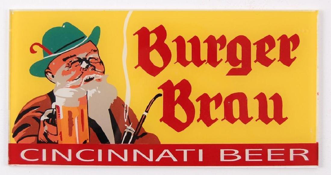 """Vintage Burger Brau """"Cincinnati Beer"""" Reverse Painted"""