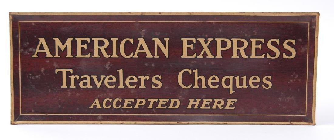"""Antique American Express """"Travelers Cheques Accepted"""