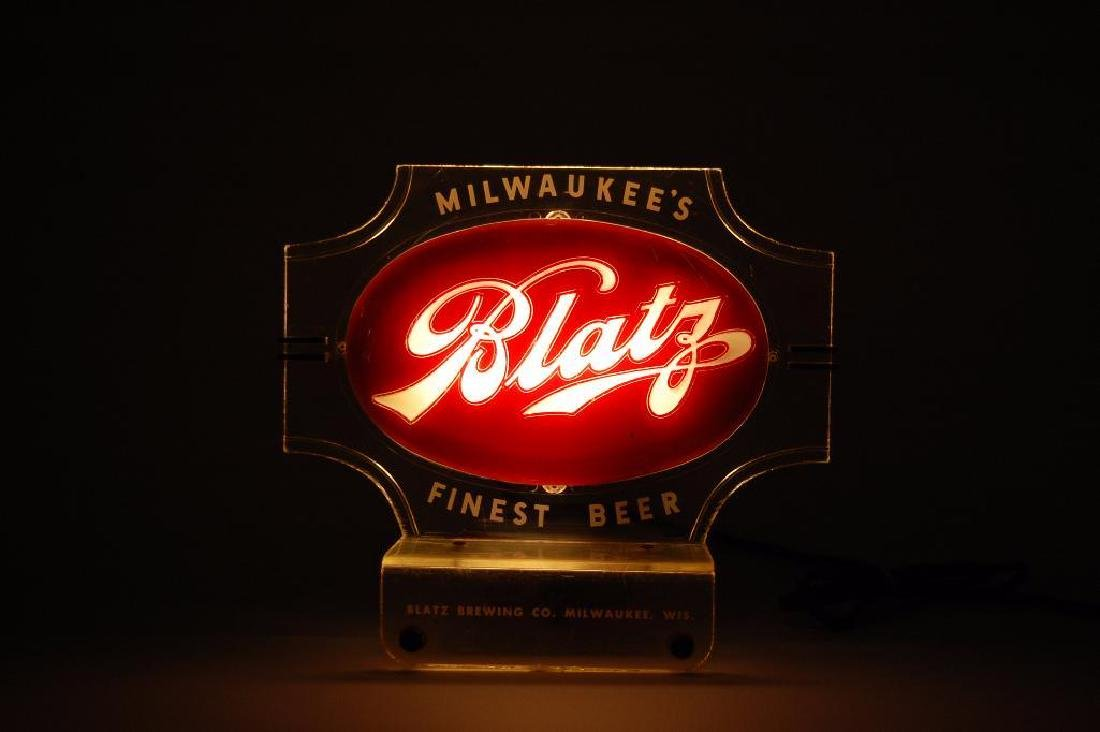 Vintage Blatz Light Up Advertising Cash Register Topper - 2