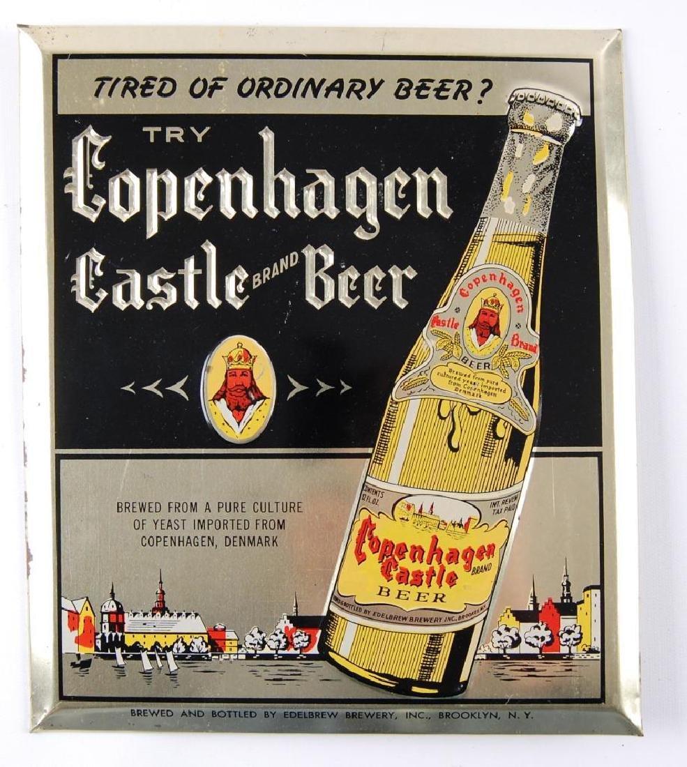 Vintage Copenhagen Castle Beer Tin on Cardboard